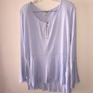 Lucky Brand Light Blue Keyhole Bell Sleeve Blouse